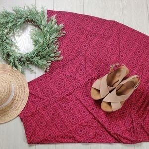 LULAROE cranberry patterned 6 way maxi skirt
